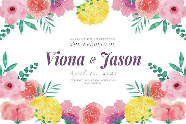 Modelo de convite de casamento com flores rosa e amarelas