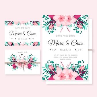 Modelo de convite de casamento com flores silvestres