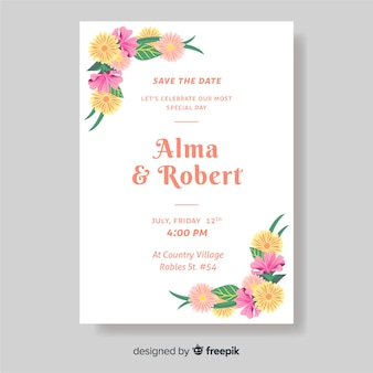 Modelo de convite de casamento com flores