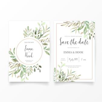 Modelo de convite de casamento com folhas de aquarela
