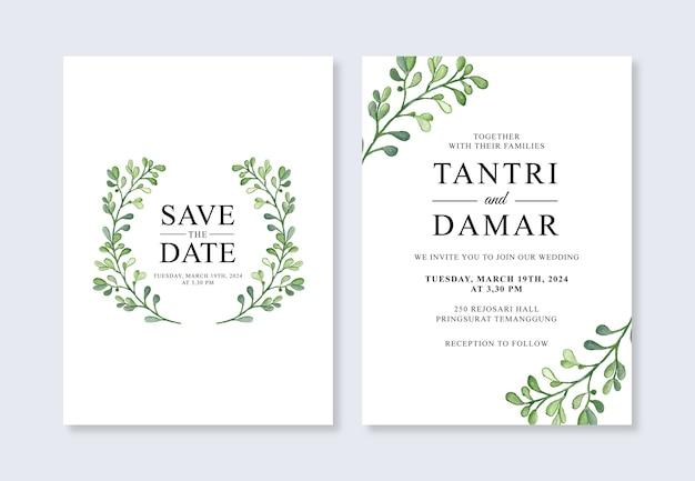 Modelo de convite de casamento com folhas em aquarela