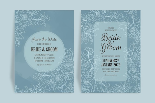 Modelo de convite de casamento com folhas florais de arte em linha definida com decoração de moldura em aquarela abstrata