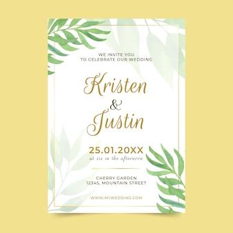 Modelo de convite de casamento com folhas
