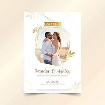 Modelo de convite de casamento com foto de casal