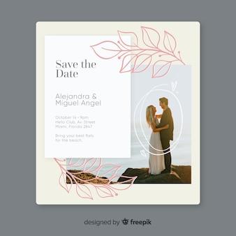 Modelo de convite de casamento com foto