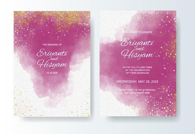 Modelo de convite de casamento com fundo aquarela e splash
