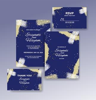 Modelo de convite de casamento com fundo aquarela