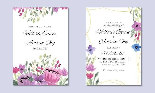 Modelo de convite de casamento com fundo floral roxo aquarela