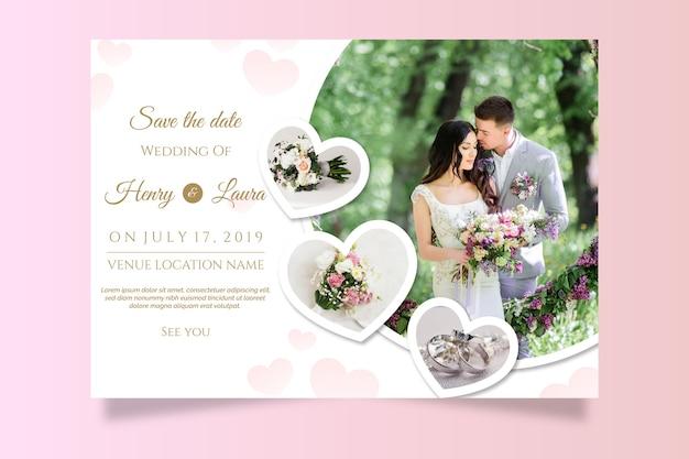 Modelo de convite de casamento com imagem