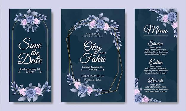 Modelo de convite de casamento com lindas folhas florais