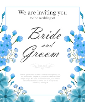 Modelo de convite de casamento com moldura azul e me esquecer.