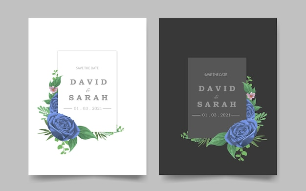 Modelo de convite de casamento com moldura azul flor