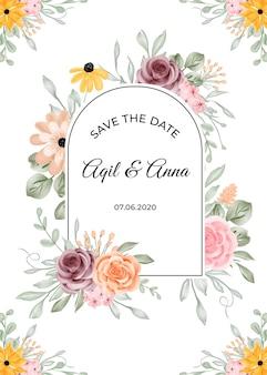 Modelo de convite de casamento com moldura de flor