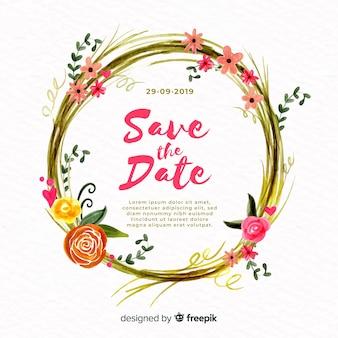 Modelo de convite de casamento com moldura floral