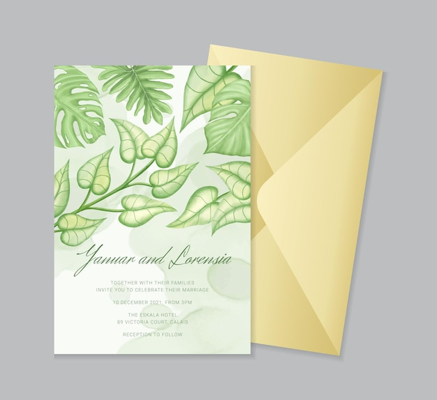 Modelo de convite de casamento com ornamento floral tropical