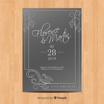 Modelo de convite de casamento com ornamentos elegantes