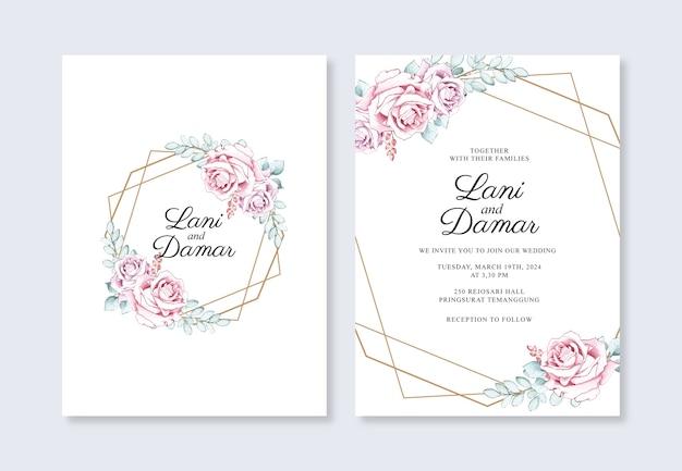 Modelo de convite de casamento com ouro geométrico e aquarela de flores