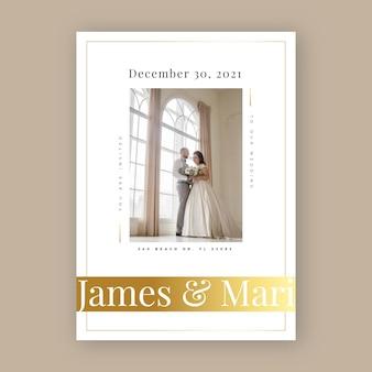 Modelo de convite de casamento com recém-casados