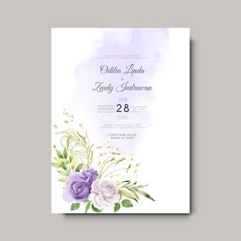 Modelo de convite de casamento com rosas elegantes desenhadas à mão