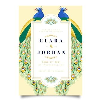 Modelo de convite de casamento com um pavão