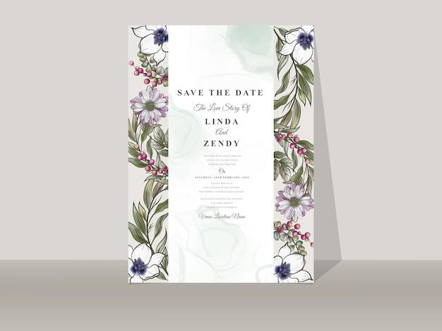 Modelo de convite de casamento com uma linda mão floral desenhada