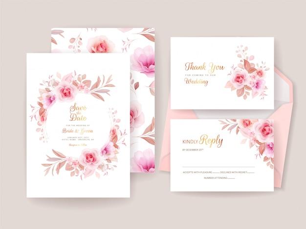 Modelo de convite de casamento conjunto com moldura floral romântica e padrão. composição de rosas e sakura flores