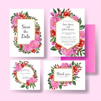 Modelo de convite de casamento conjunto de peônias rosa e flor vermelha
