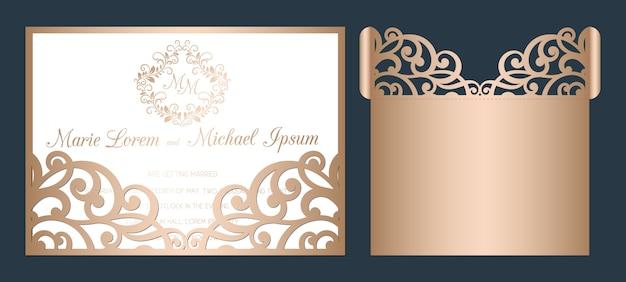 Modelo de convite de casamento cortado a laser. envelope de bolso openwork casamento com ornamento de corte abstrato.