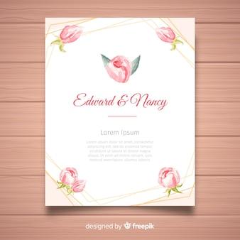Modelo de convite de casamento criativo com conceito de flores de peônia
