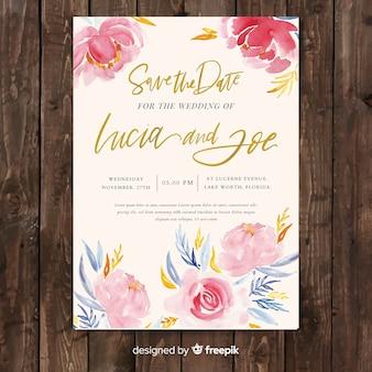 Modelo de convite de casamento criativo com flores de peônia aquarela