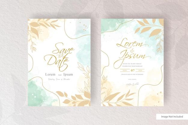 Modelo de convite de casamento de arranjo floral minimalista com aquarela abstrata