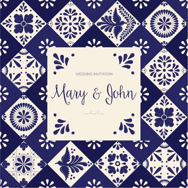 Modelo de convite de casamento de azulejos mexicanos de talavera