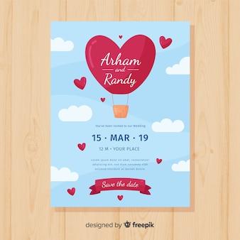 Modelo de convite de casamento de balão de ar quente de coração