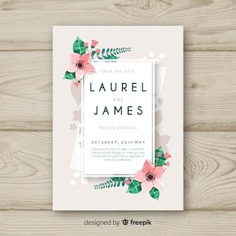 Modelo de convite de casamento de canto floral