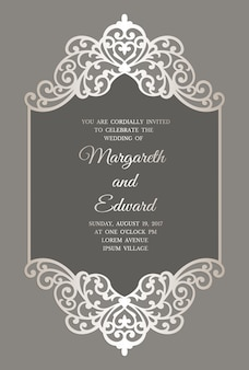 Modelo de convite de casamento de corte a laser com borda de renda. maquete de cartão de moldura plana.