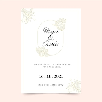 Modelo de convite de casamento de estilo minimalista