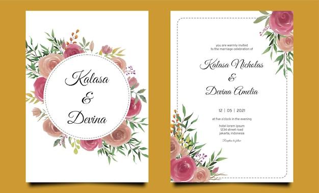 Modelo de convite de casamento de flor rosa aquarela