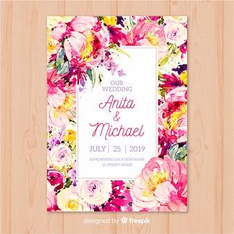 Modelo de convite de casamento de flores coloridas em aquarela