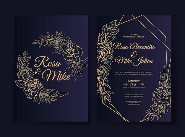 Modelo de convite de casamento de flores com contorno luxuoso