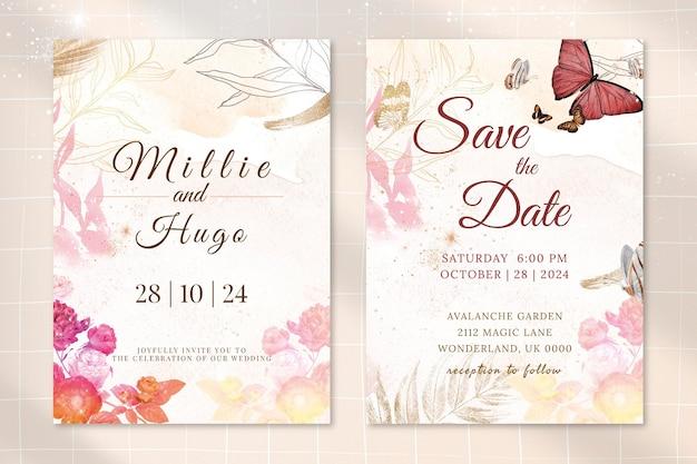 Modelo de convite de casamento de flores com vetor de borda estética, remixado de imagens vintage de domínio público