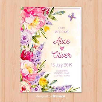 Modelo de convite de casamento de flores em aquarela