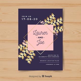 Modelo de convite de casamento de folhas douradas