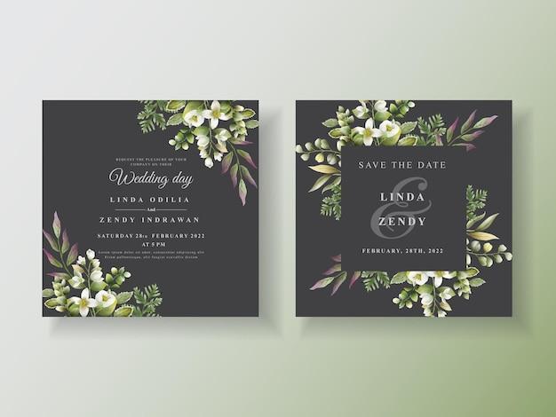 Modelo de convite de casamento de folhas verdes desenhadas à mão