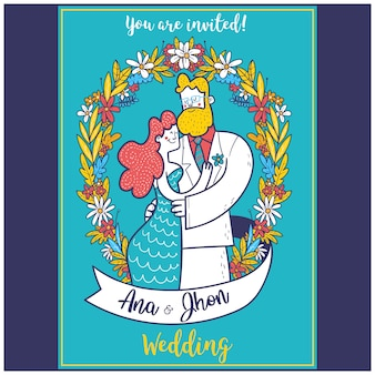 Modelo de convite de casamento de ilustração de retrato de casal