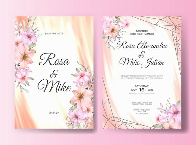 Modelo de convite de casamento de linda flor de rosa rosa