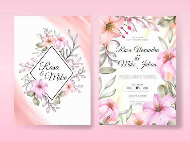 Modelo de convite de casamento de linda flor rosa