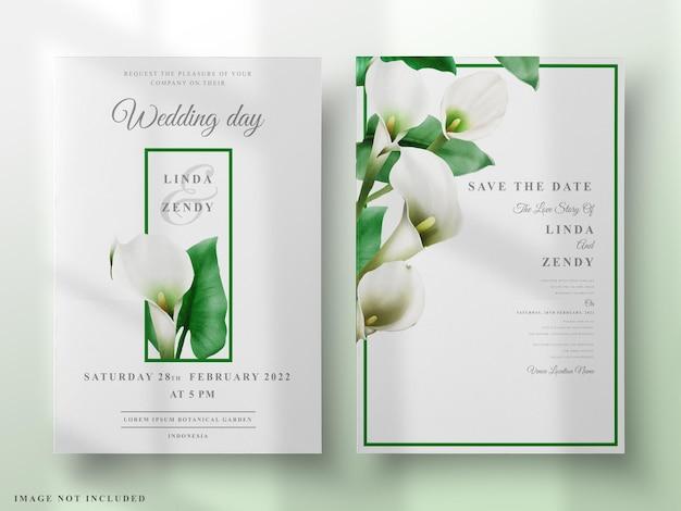 Modelo de convite de casamento de lírio de cala pintado à mão