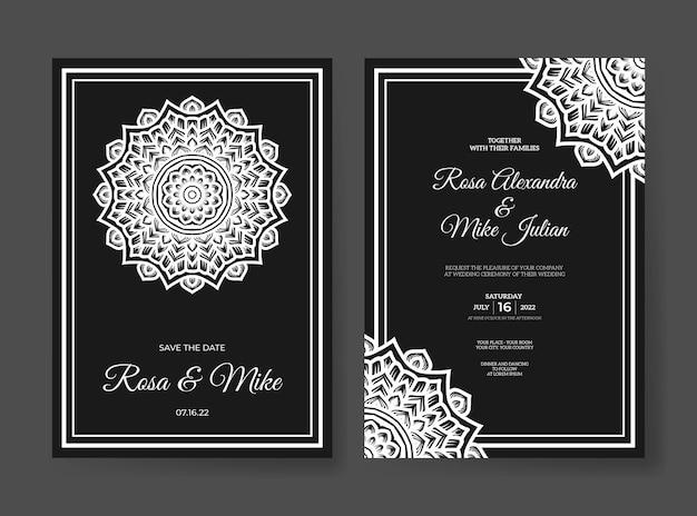 Modelo de convite de casamento de luxo com decoração de mandala