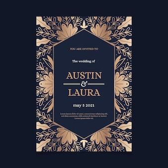 Modelo de convite de casamento de luxo com elementos dourados