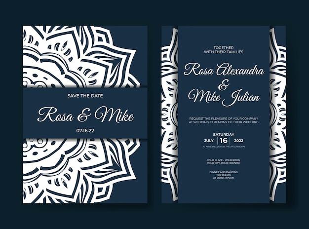 Modelo de convite de casamento de luxo com ornamento de mandala